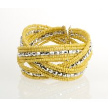 BTQ Yellow and Silver Braided Bead Cuff