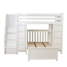 All in One Staircase Loft Bed Storage Storage   Twin Bed White