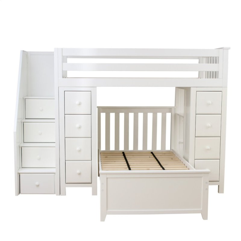 Twin Bed With Storage.All In One Staircase Loft Bed Storage Storage Twin Bed White
