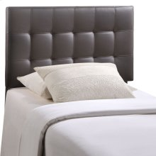 Lily Twin Upholstered Vinyl Headboard in Brown