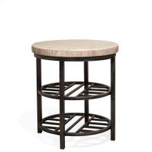 Capri - Round Side Table - Alabaster Travertine Finish