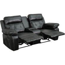 Reel Comfort Series 2-Seat Reclining Black Leather Theater Seating Unit with Straight Cup Holders