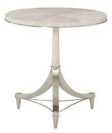 Domaine Blanc Round Pedestal Chairside Table in Domaine Blanc Dove White