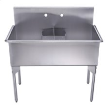 Pearlhaus Collection double bowl commercial freestanding utility sink.
