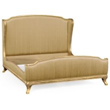 Cali King Louis XV Gilded Bed, Upholstered in Muscatelle Silk