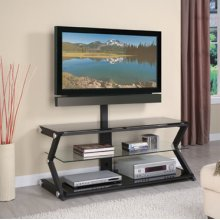 """""""Sandy Black"""" 50"""" Wide Flat Panel TV Stand with TV Mounting Post"""