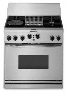 """36"""" Width 4 Burners & Grille Porcelain-on-Steel Cooktop True Convection Oven Architect® Series Dual Fuel Freestanding or Slide-In Range"""