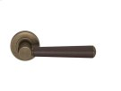 Tube Stitch Incombination Leather Door Lever In Chocolate And Fine Antique Brass Product Image