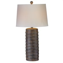 Horizontal Ribbed Stone Finish Table Lamp. 100W Max. 3 Way Switch.