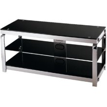 "3-tier TV Stand, Silv Chrome/black Gls, 43.25""LX16.75""WX20""H"