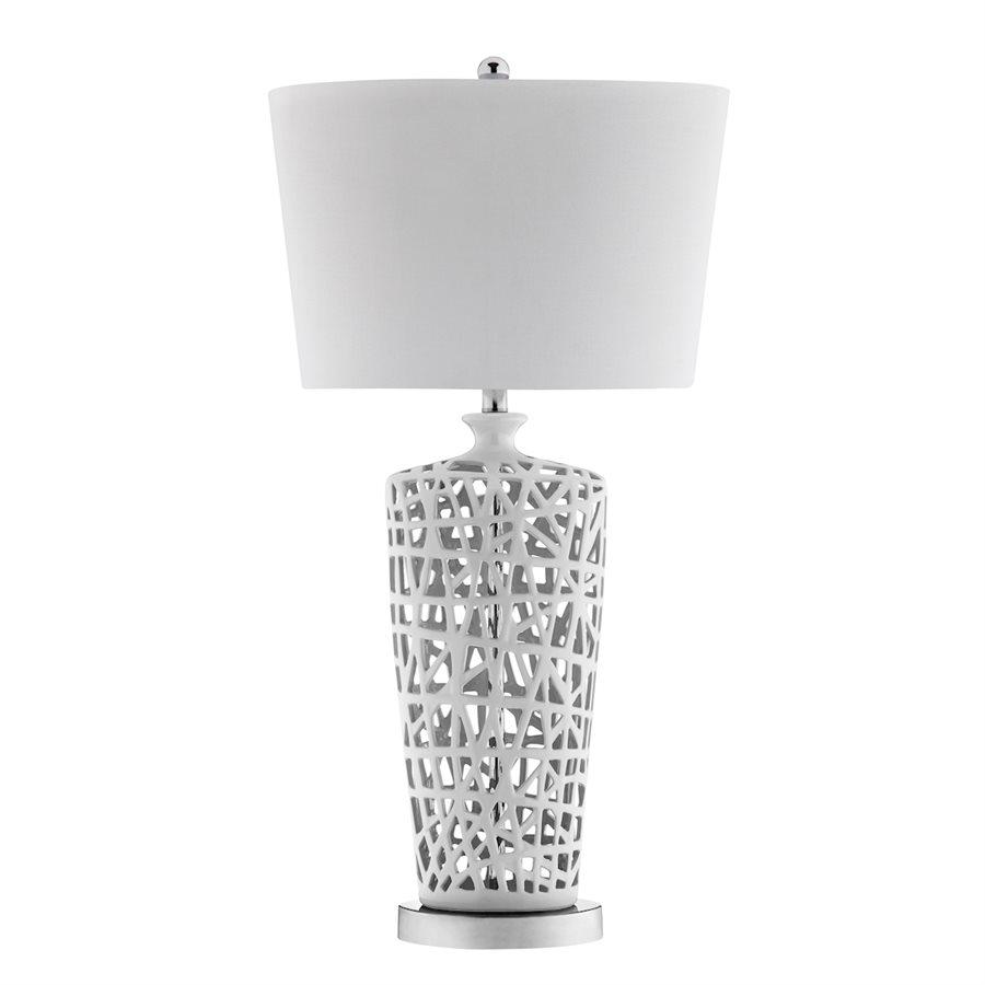 White Lattice Ceramic Table Lamp