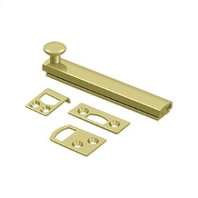 """4"""" Surface Bolt, Concealed Screw, HD - Polished Brass"""