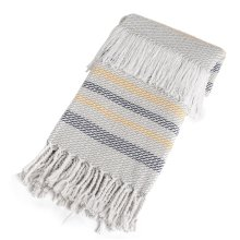 Grey, Navy & Mustard Stripe Throw with Braided Fringe