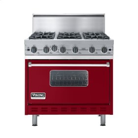 "Apple Red 36"" Open Burner Commercial Depth Range - VGRC (36"" wide, six burners)"