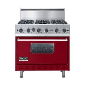 "Apple Red 36"" Open Burner Commercial Depth Range - VGRC (36"" wide, six burners)"