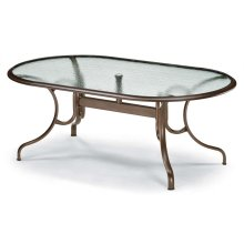 """Glass Top Table 43"""" x 75"""" Oval Dining Table w/ hole Ogee Rim"""