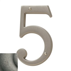 Distressed Antique Nickel House Number - 5