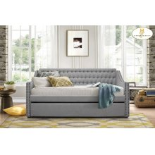 Daybed with Trundle Neutral Tone Grey