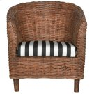 Omni Rattan Barrel Chair - Brown / Black / White Stripe Product Image