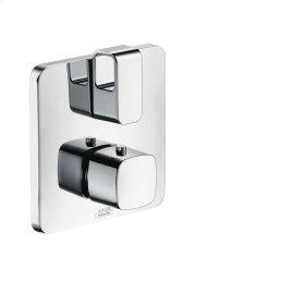 Brushed Chrome Thermostat for concealed installation with shut-off/ diverter valve
