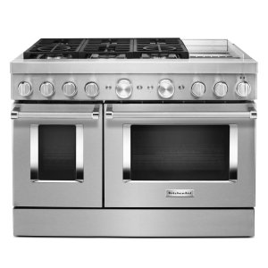 KitchenAidKitchenAid® 48'' Smart Commercial-Style Dual Fuel Range with Griddle - Heritage Stainless Steel