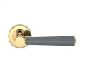 Tube Stitch Incombination Leather Door Lever In Slate Grey And Polished Brass Product Image