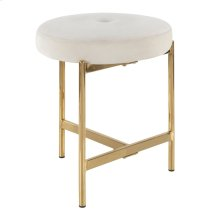 Chloe Vanity Stool - Gold Metal, White Velvet