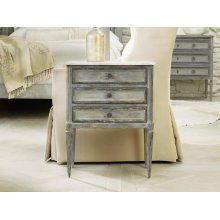 Small Three Drawer Cabinet W/marble, Two Tone Painted Finish. Antique Brass Hardware. White Carrara Marble Top.