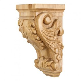 "4-1/2"" x 5"" x 10"" Small Acanthus Wood Corbel, Species: Rubberwood. e Hardware Resources, Inc."