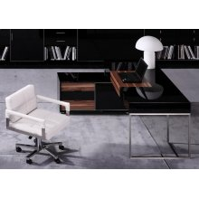 Modrest Ezra Black Gloss and Walnut Office Desk w/ Side Cabinet