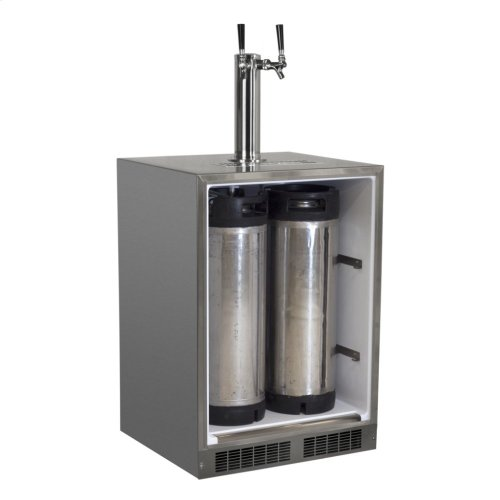 "Outdoor 24"" Twin Tap Built In Beer Dispenser with Stainless Steel Door - Solid Stainless Steel Door With Lock - Right Hinge"