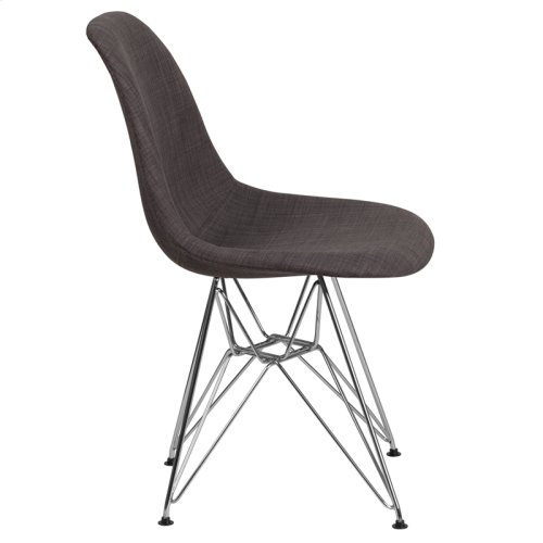 Elon Series Siena Gray Fabric Chair with Chrome Base