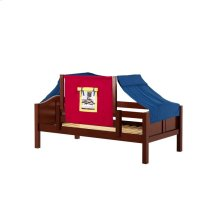Daybed w/ Back and Front Safety Rails and Top Tent : Twin : Chestnut : Curved
