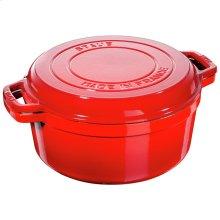 Staub Cast Iron 11-inch round Braise + Grill, Cherry