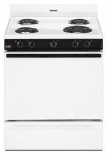"Black-on-White Whirlpool® 30"" Freestanding Electric Coil Range"