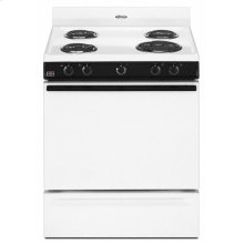 "Black-on-White Whirlpool® 30"" Freestanding Electric Coil Range"