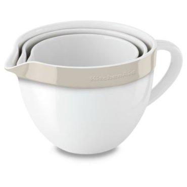 Ceramic 3-Piece Nesting Mixing Bowl Set - Almond Cream