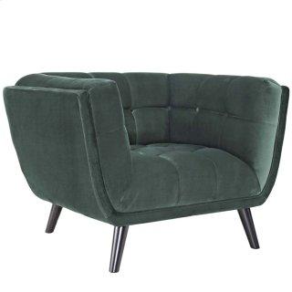 Bestow Performance Velvet Armchair in Green