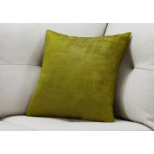 "PILLOW - 18""X 18"" / LIME GREEN BRUSHED VELVET / 1PC"