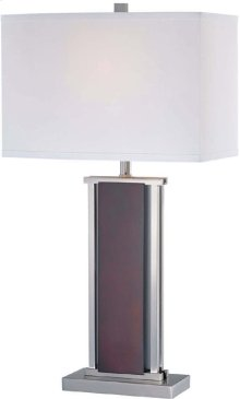 Table Lamp, Ps/dark Walnut/wht Fabric Shd, E27 Cfl 25w/3way