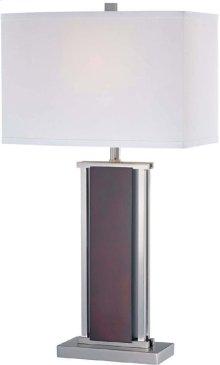 Table Lamp, Ps/dark Walnut/wht Fabric Shd, E27 Cfl 25w/3way
