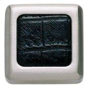Paradigm Square Knob 1 1/4 Inch - BN & Black Croc Leather