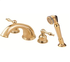 Polished Brass Roman Tub Faucet with Soft Touch Personal Shower