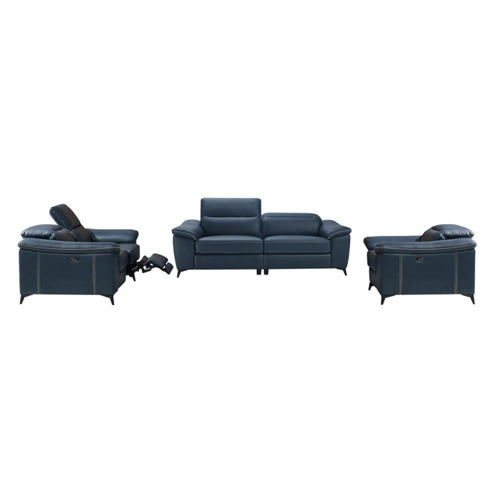 Divani Casa Melstone Modern Blue Leatherette Sofa Set w/ Electric Recliners