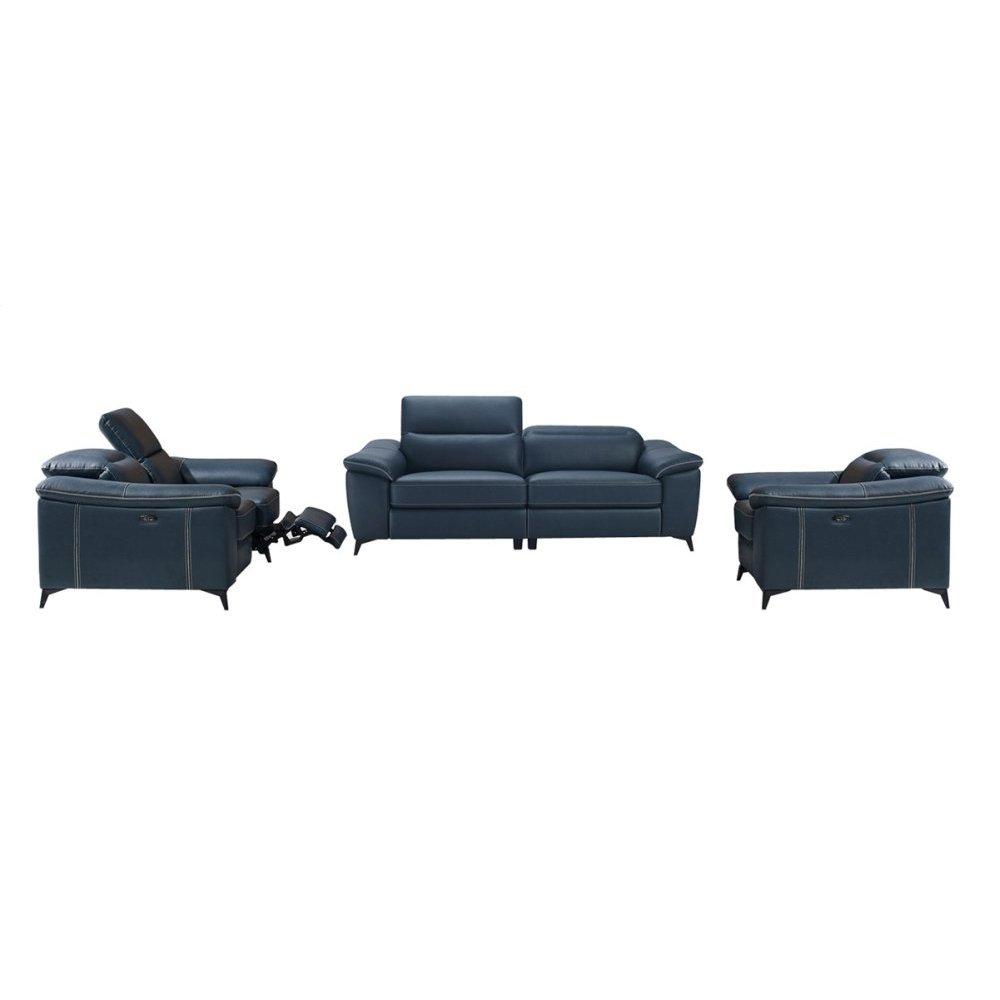 Divani Casa Melstone Modern Blue Leatherette Sofa Set w/ Electric Recliners