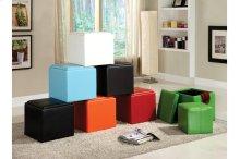 Storage Cube Ottoman, Blue Bi-Cast Vinyl