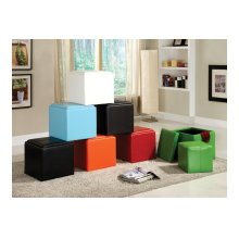 Storage Cube Ottoman, Brown Bi-Cast Vinyl