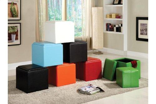 Storage Cube Ottoman, White Bi-Cast Vinyl