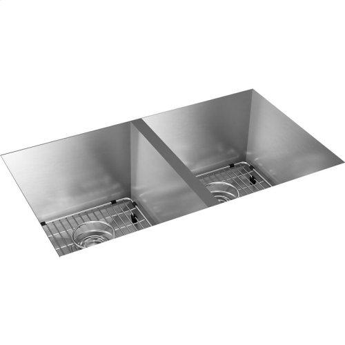 """Elkay Crosstown 16 Gauge Stainless Steel, 30-3/4"""" x 18-1/2"""" x 10"""" Equal Double Bowl Undermount Sink Kit"""