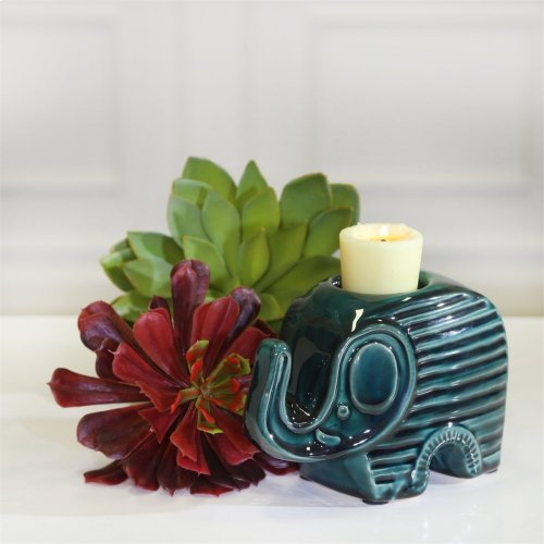 Ceramic Elephant Tea Light Holder, Green